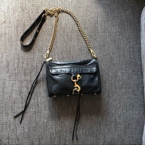 Rebecca Minkoff black MAC crossbody gold hw